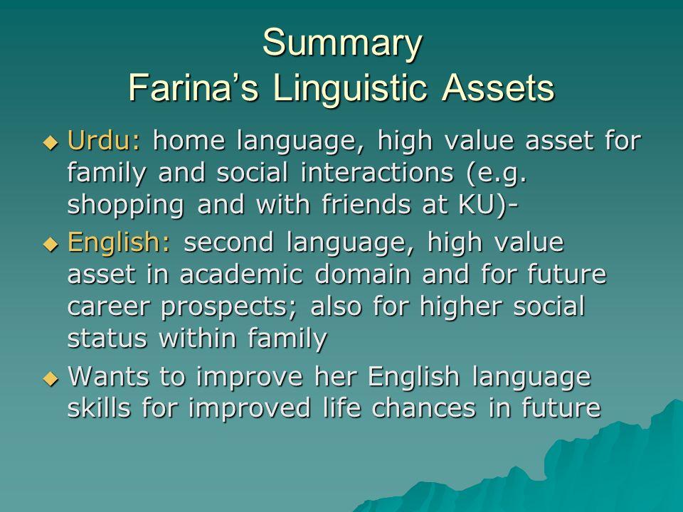 Summary Farina's Linguistic Assets
