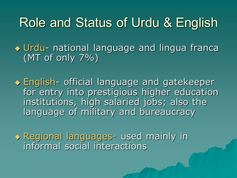 Role and Status of Urdu & English