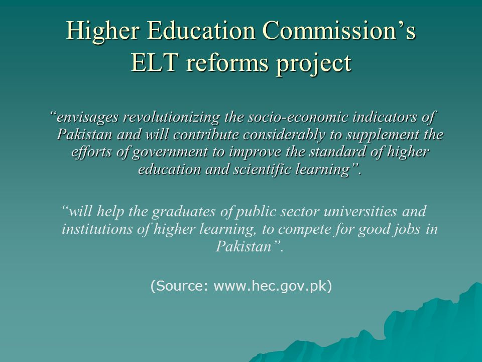 Higher Education Commission's ELT reforms project