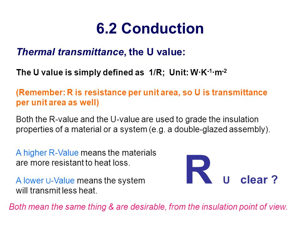 R U clear 6.2 Conduction Thermal transmittance, the U value: