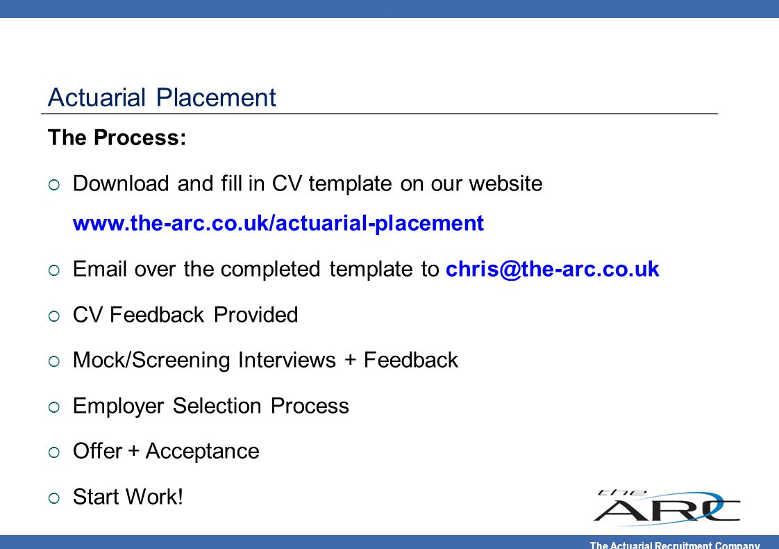 Actuarial Placement The Process: