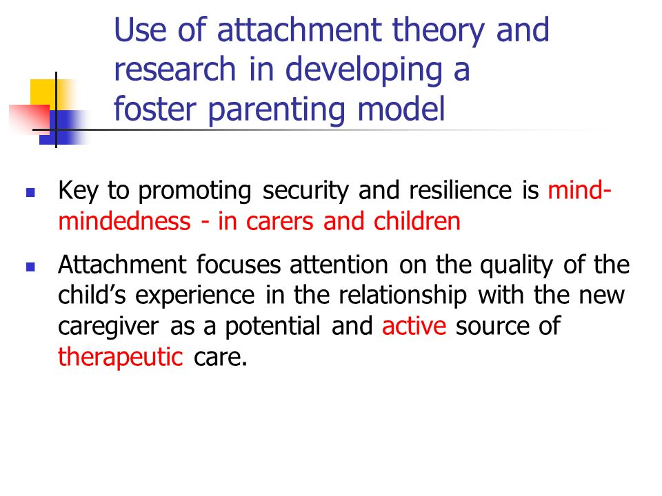 Use of attachment theory and research in developing a foster parenting model