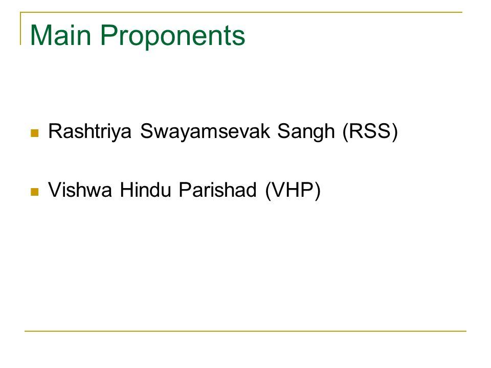Main Proponents Rashtriya Swayamsevak Sangh (RSS)