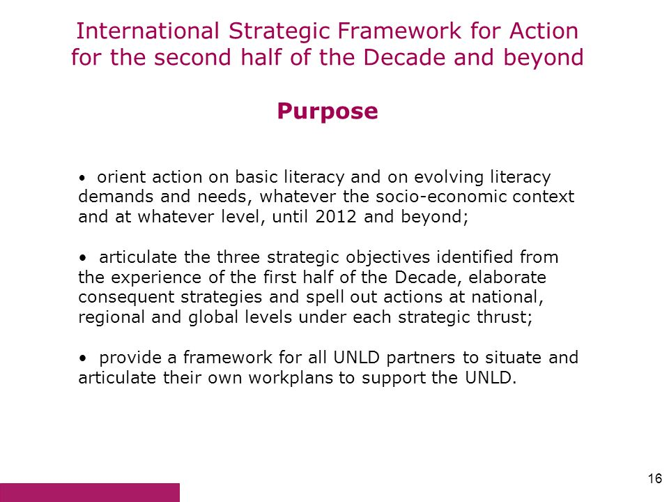 International Strategic Framework for Action for the second half of the Decade and beyond Purpose