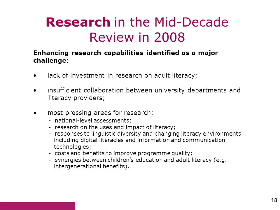 Research in the Mid-Decade Review in 2008
