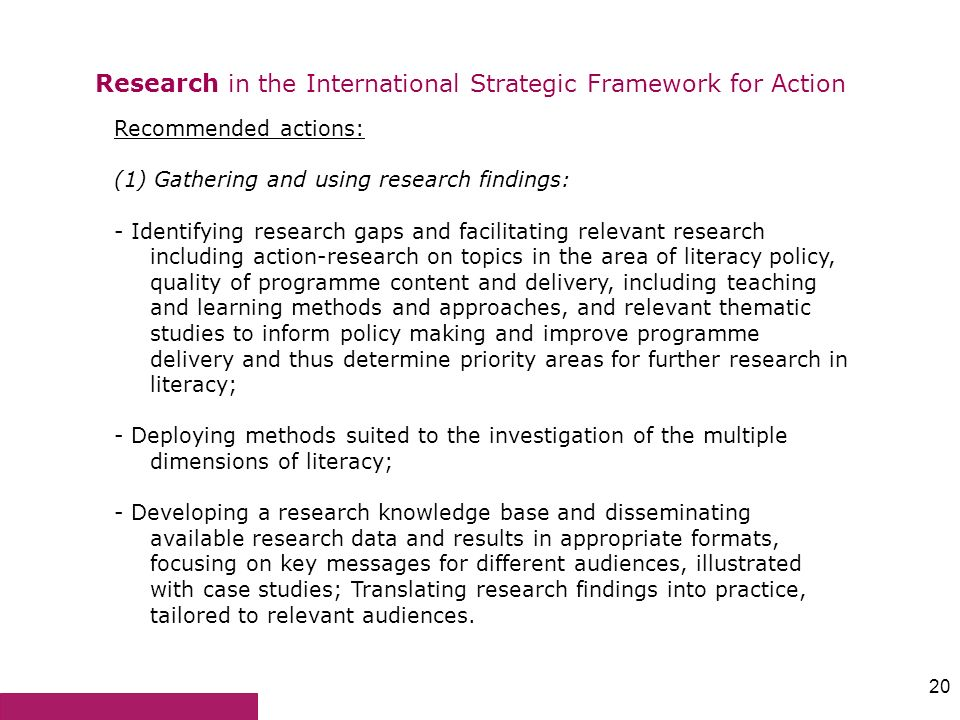 Research in the International Strategic Framework for Action