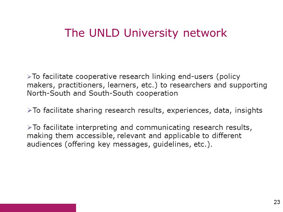 The UNLD University network