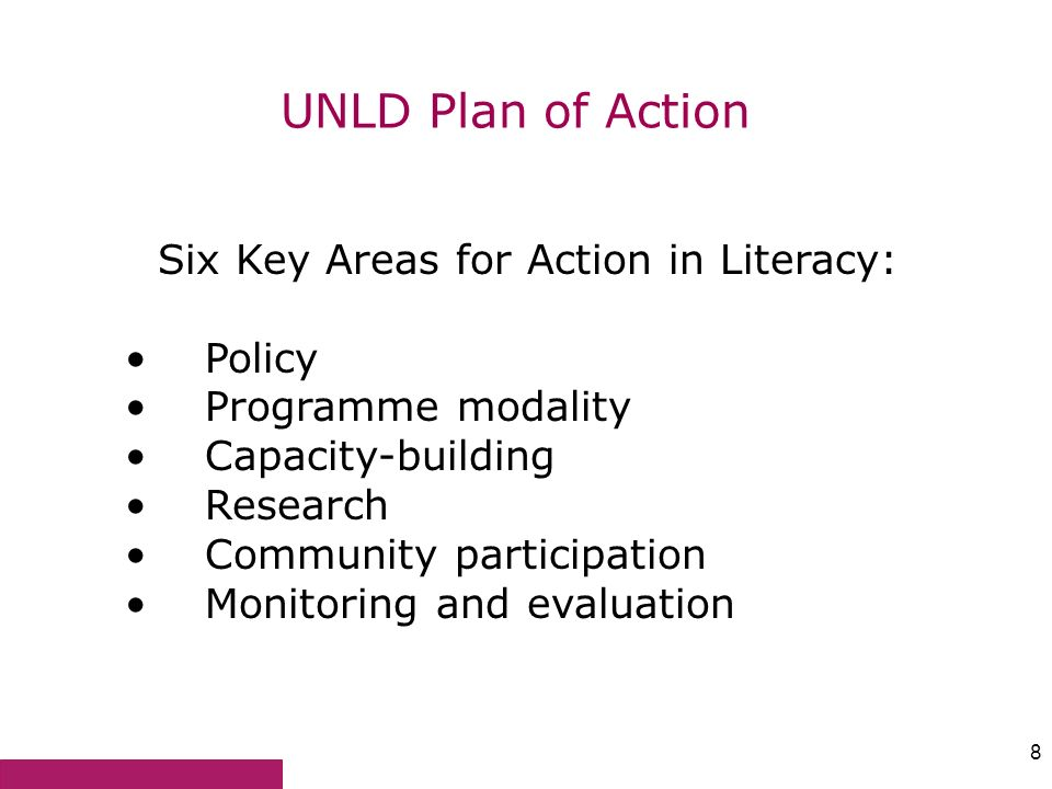 Six Key Areas for Action in Literacy: