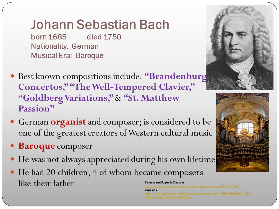 the early life and compositions of johann sebastian bach Johann sebastian bach and ludwig van beethoven were two of the bach vs beethoven 1 early life 2 musical other compositions from this period.