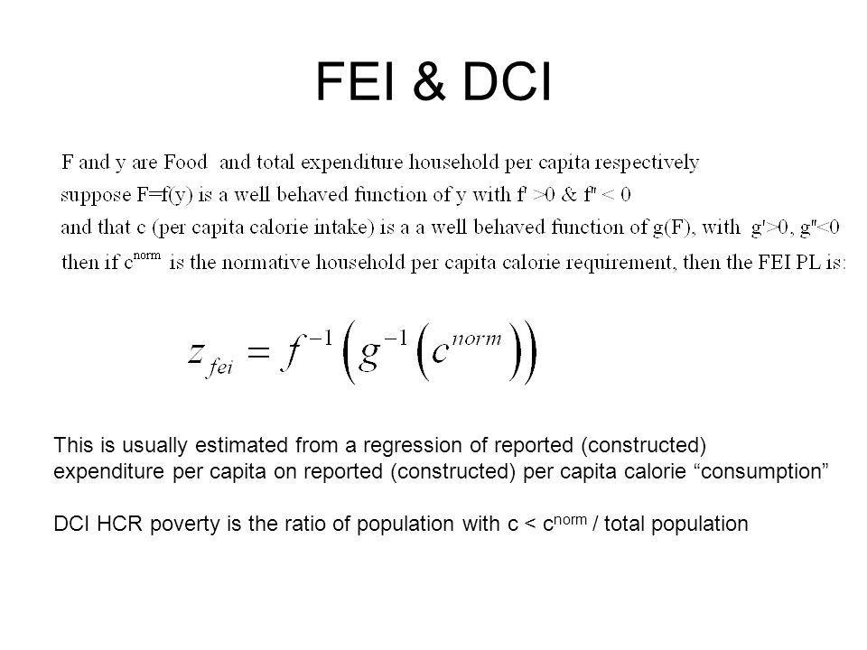 FEI & DCI This is usually estimated from a regression of reported (constructed)