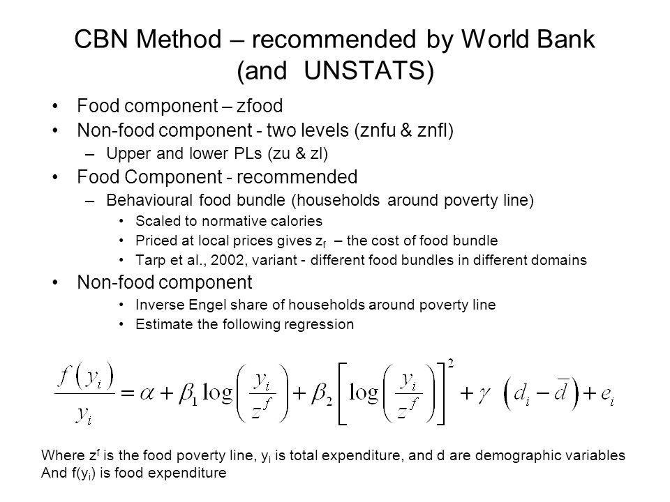 CBN Method – recommended by World Bank (and UNSTATS)
