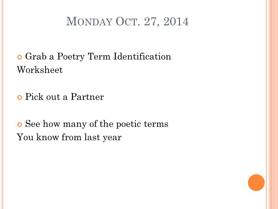 Monday Oct 27 2014 Grab a Poetry Term Identification Worksheet – Poetry Terms Worksheet