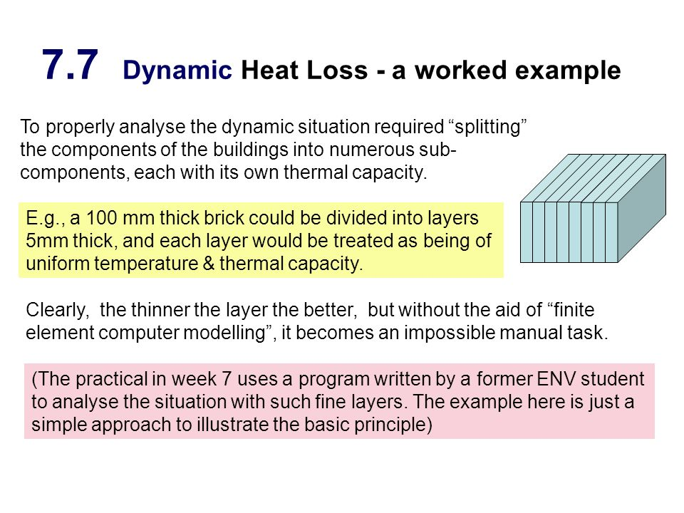7.7 Dynamic Heat Loss - a worked example