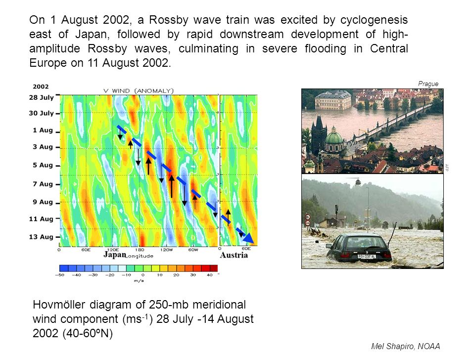 On 1 August 2002, a Rossby wave train was excited by cyclogenesis east of Japan, followed by rapid downstream development of high-amplitude Rossby waves, culminating in severe flooding in Central Europe on 11 August 2002.