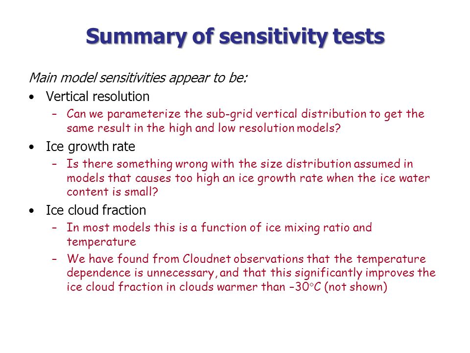 Summary of sensitivity tests