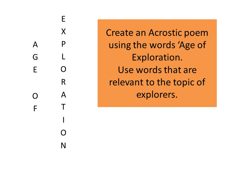 the age of exploration vocabulary You won't have to cross the ocean for good ideas on how to teach about the age of exploration with this lesson plan including resources from.