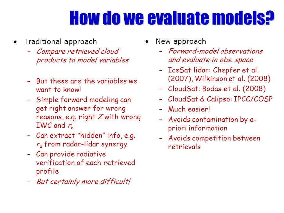 How do we evaluate models