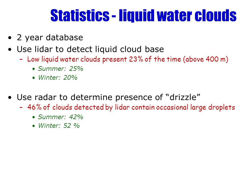 Statistics - liquid water clouds