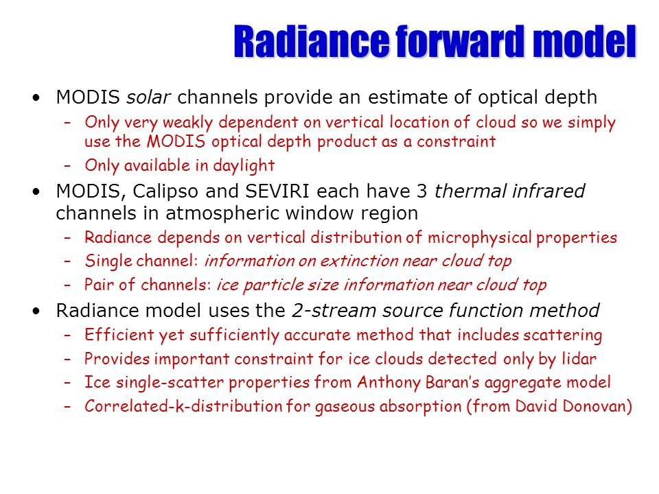 Radiance forward model