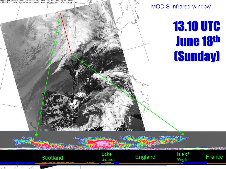 13.10 UTC June 18th (Sunday) MODIS Infrared window France Scotland