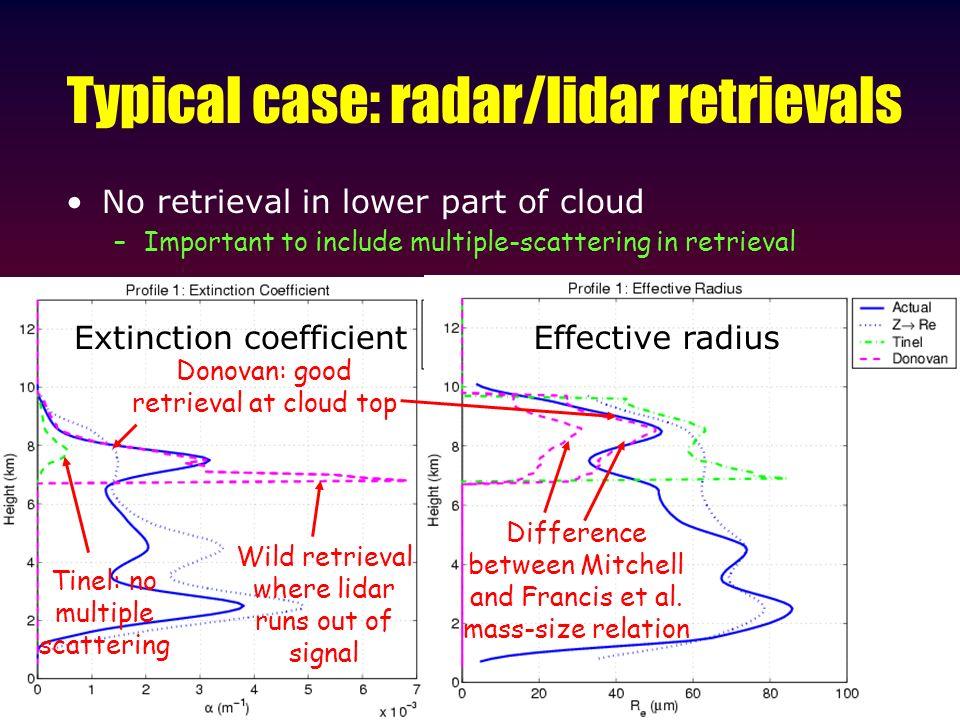 Typical case: radar/lidar retrievals