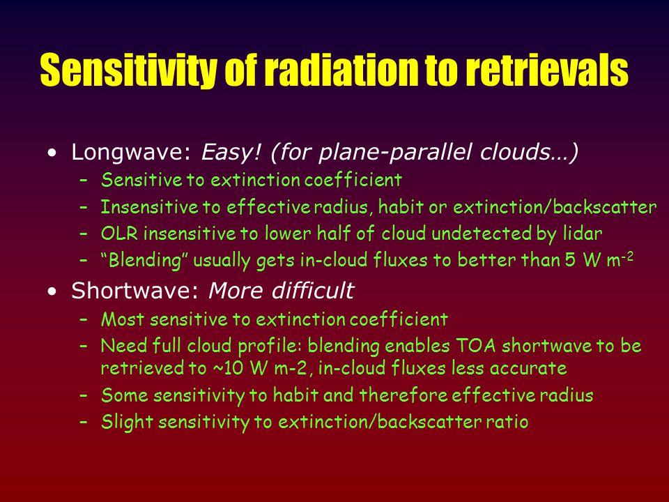 Sensitivity of radiation to retrievals