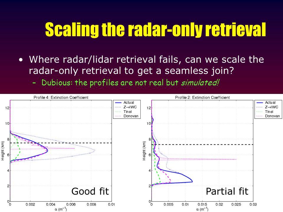 Scaling the radar-only retrieval