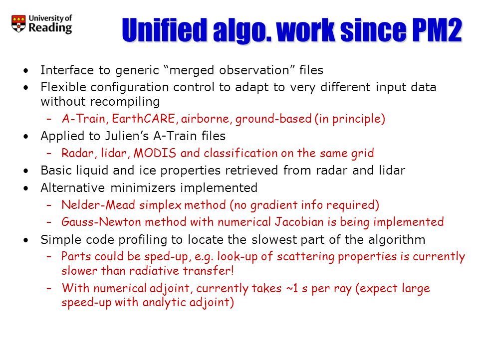 Unified algo. work since PM2