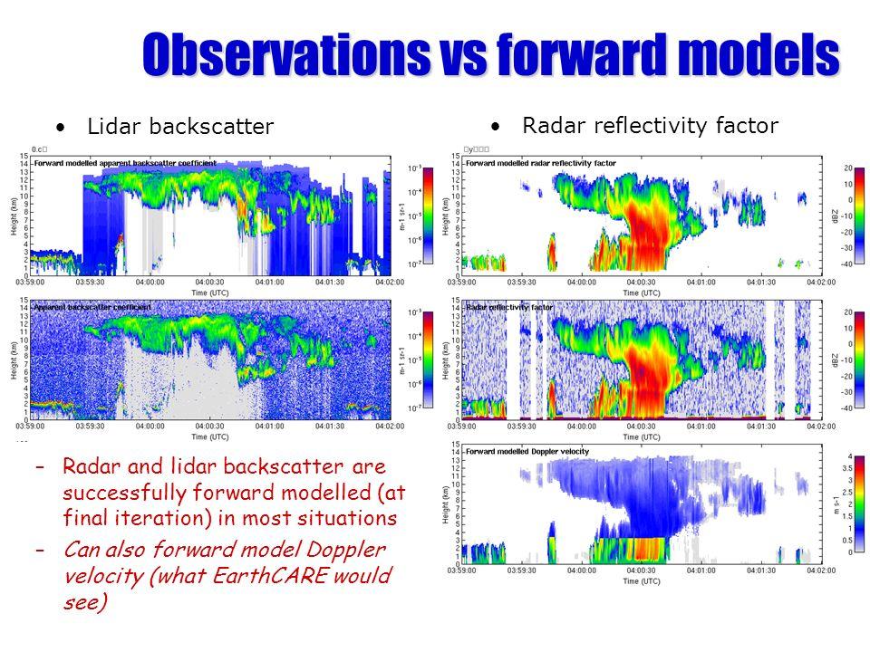 Observations vs forward models