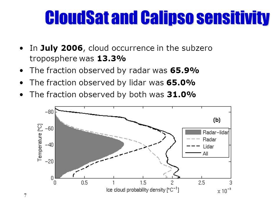CloudSat and Calipso sensitivity