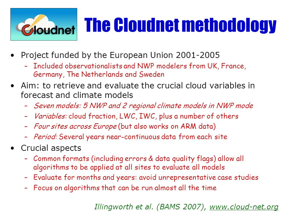 The Cloudnet methodology