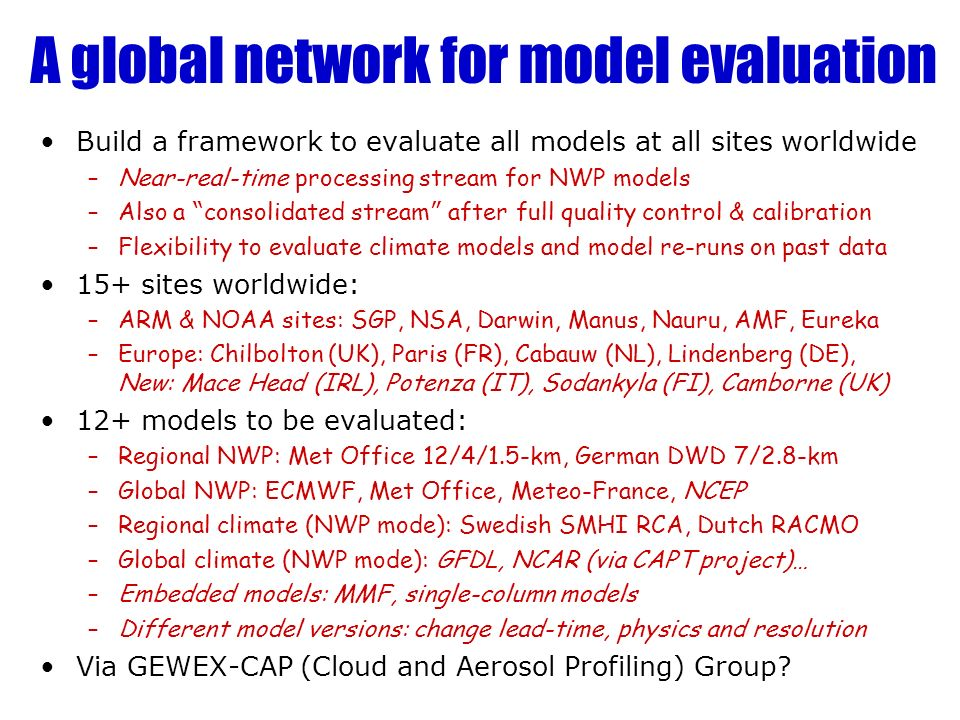 A global network for model evaluation