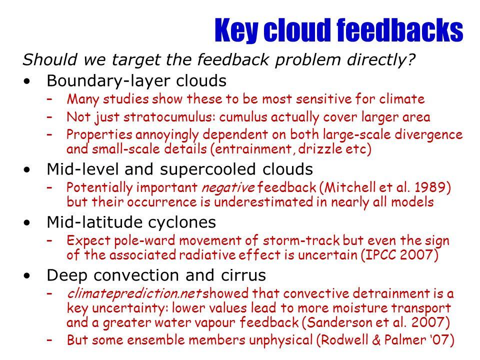 Key cloud feedbacks Should we target the feedback problem directly