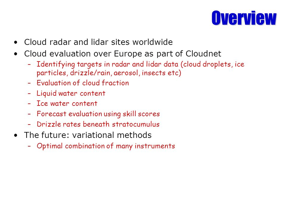 Overview Cloud radar and lidar sites worldwide