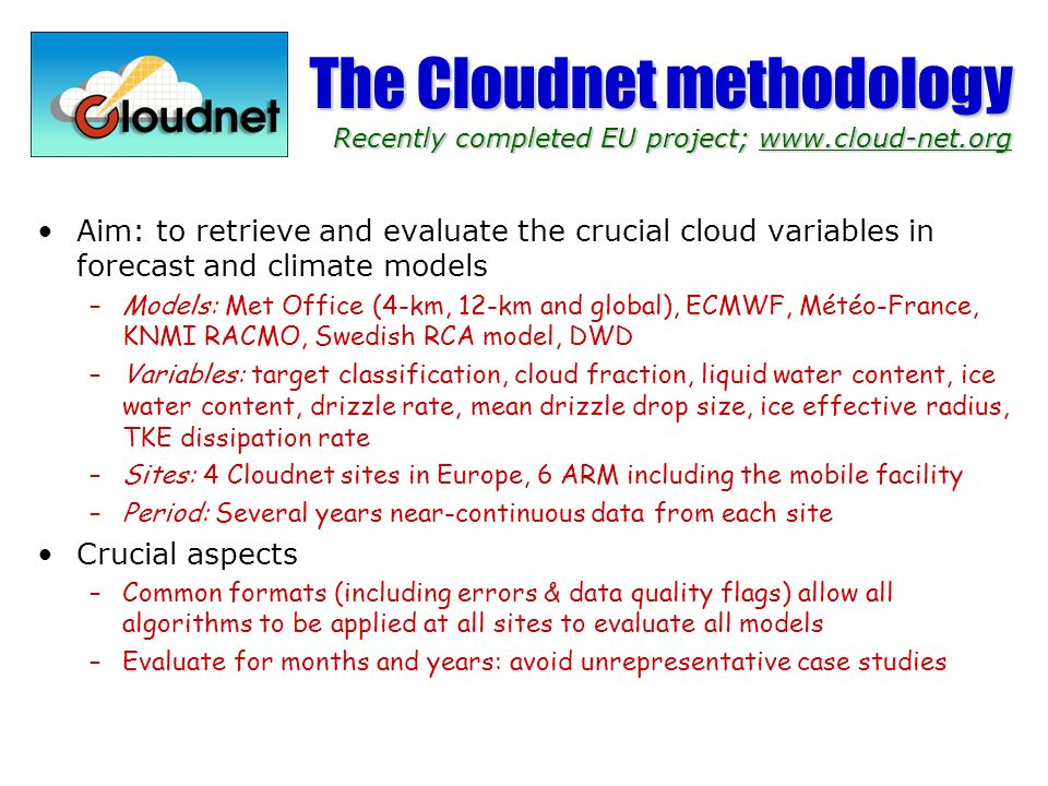 The Cloudnet methodology Recently completed EU project; www. cloud-net