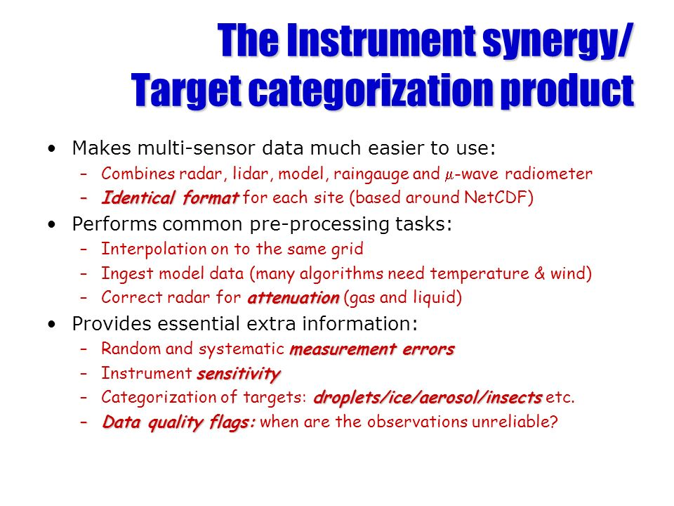 The Instrument synergy/ Target categorization product