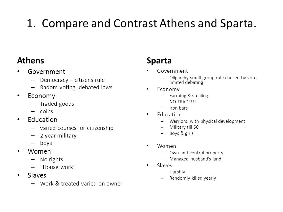 a comparison and contrast between the athens and sparta ancient greek cities Similarities and differences between athens and sparta by kirk kanjian in  however democracy in ancient athens was quite  compare/contrast athens and sparta.