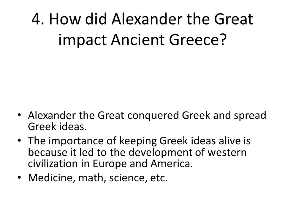 alexander the greats impact on the