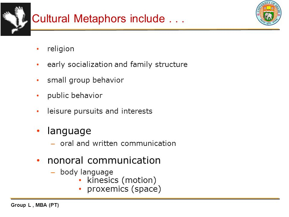 cultural metaphors Cultural metaphors is a cultural system wherein people with the same beliefs, traditions, ideologies, morals or values associate with each other people belonging to the same culture, share or participate in a particular interest activity, event, or organization, and any other means, that represents their culture is an example of a cultural .