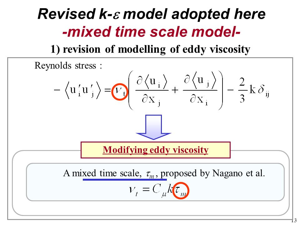 Revised k-e model adopted here -mixed time scale model-