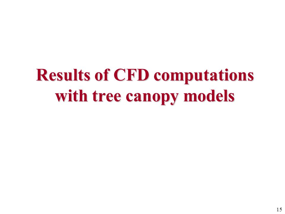Results of CFD computations with tree canopy models