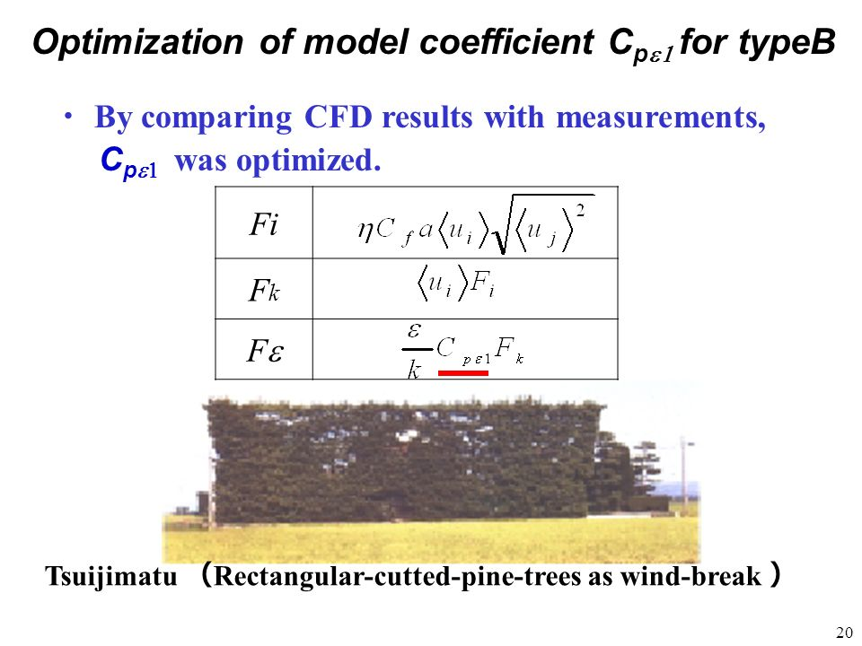 Optimization of model coefficient Cpe1 for typeB