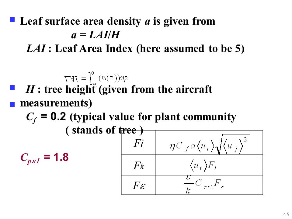 Leaf surface area density a is given from