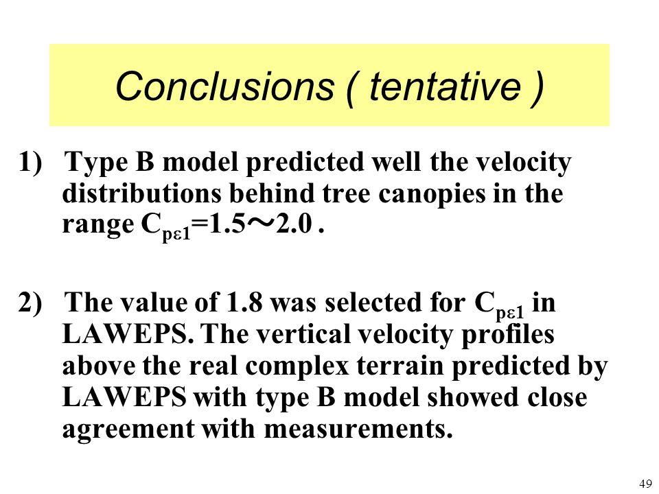 Conclusions ( tentative )