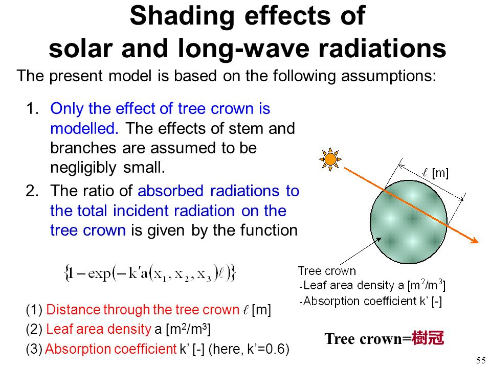 Shading effects of solar and long-wave radiations