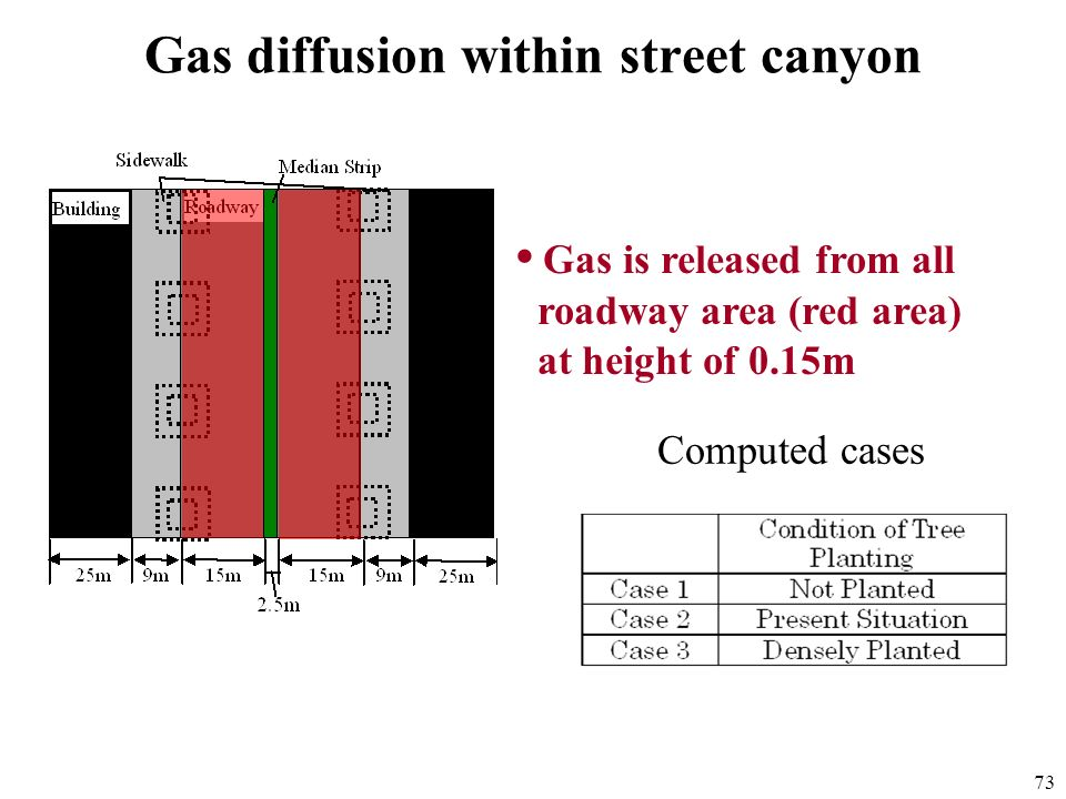Gas diffusion within street canyon