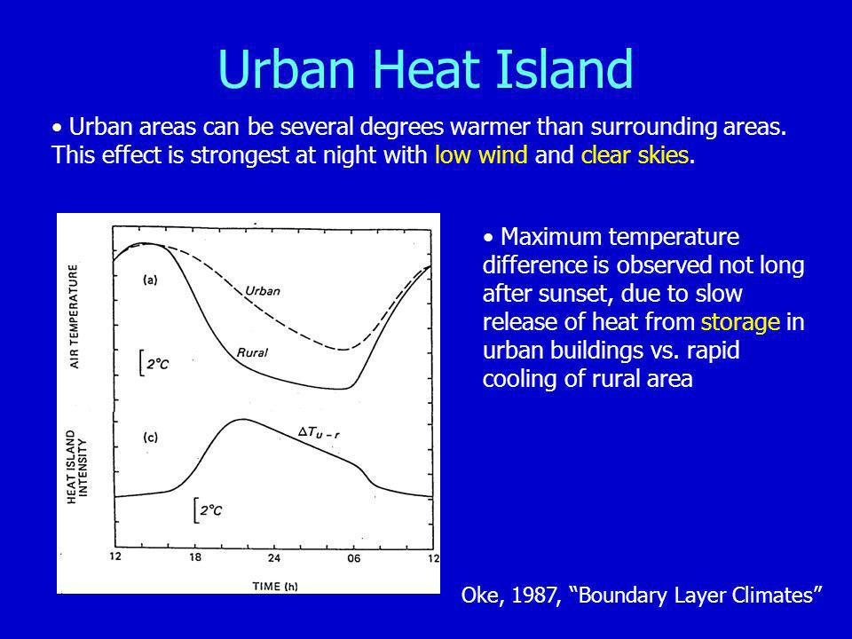 Urban Heat Island Urban areas can be several degrees warmer than surrounding areas. This effect is strongest at night with low wind and clear skies.