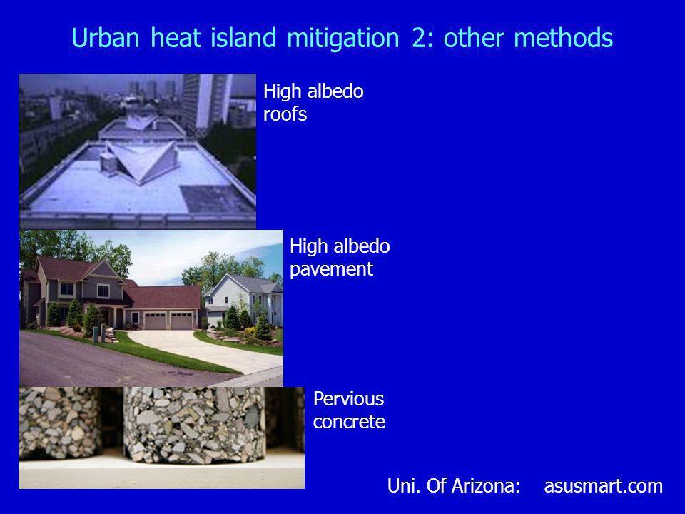 Urban heat island mitigation 2: other methods