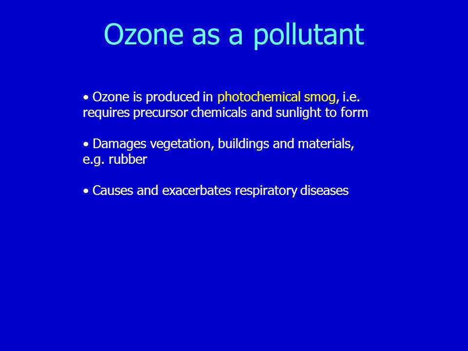 Ozone as a pollutant Ozone is produced in photochemical smog, i.e. requires precursor chemicals and sunlight to form.