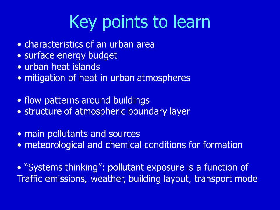Key points to learn characteristics of an urban area